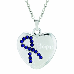 7/8 Inch Sterling Silver Blue Ribbon Hope Heart Medal