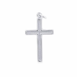 7/8 Inch Sterling Silver Recessed Cross Necklace