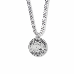 7/8 Inch Sterling Silver Round Antique St. Christopher Medal
