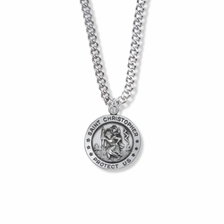 7/8 Inch Sterling Silver Round St. Christopher Medal, Patron of Travelers