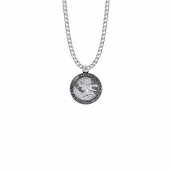 7/8 Inch Sterling Silver Round St. Christopher Starburst Medal, Patron Saint of Travelers