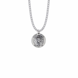 7/8 Inch Sterling Silver Round St. Florian Medal, Patron Saint of Firefighters