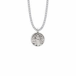 7/8 Inch Sterling Silver Round St. Francis Medal, Patron Saint of Animals