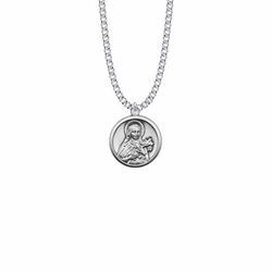 7/8 Inch Sterling Silver Round St. Theresa Medal, Patron Saint of Aviators and Missions