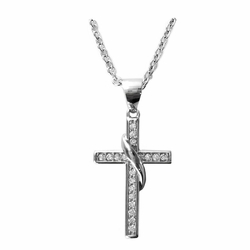 7/8 Inch Sterling Silver Sash Cross Necklace with Cubic Zirconia Stones