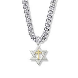 7/8 Inch Sterling Silver Two-Tone Star of David with Cross Necklace