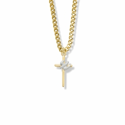7/8 Inch Two-Tone 14K Gold Filled Dove on Cross Necklace