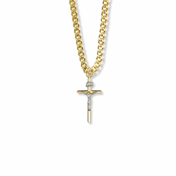 7/8 Inch Two-Tone 14K Gold Filled Stick Crucifix Necklace