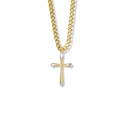 7/8 Inch Two-Tone 14K Gold Over Sterling Silver Tubular Cross Necklace