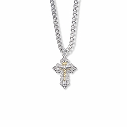 7/8 Inch Two-Tone Sterling Silver Filigree Crucifix Necklace