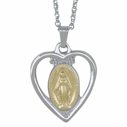 7/8 Inch Two Tone Sterling Silver Heart Miraculous Medal