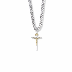 7/8 Inch Two-Tone Sterling Silver Stick Crucifix Necklace