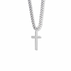7/8 Sterling Silver Plain Cross Necklace