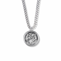 7/8 Sterling Silver Round Antique St. Christopher Medal, Patron of Travelers