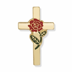 7/8 x 1/2 Inch Gold Cross with Enameled Rose Lapel Pin