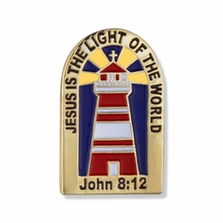 7/8 x 1/2 Jesus is the Light of the World Lighthouse Lapel Pin