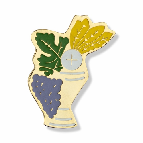 7/8 x 5/8 Inch Gold Plated and Enameled Communion Chalice Lapel Pin