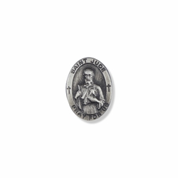 7/8 x 5/8 Inch Pewter Oval St. Jude, Patron of Hopeless Causes Pin