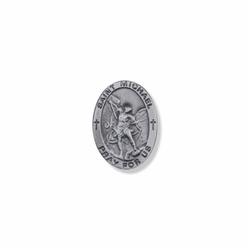 7/8 x 5/8 Inch Pewter Oval St. Michael, Patron of Police Pin