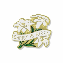 7/8 x 7/8 Inch Gold Enameled Christ is Risen Lily Flowers Lapel Pin