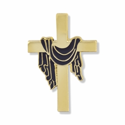 7/8 x 9/16 Inch Gold and Purple Robe Cross Lapel Pin