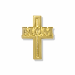 "7/8 x 9/16 Inch Gold ""Mom"" Cross Lapel Pin with Verse Card"