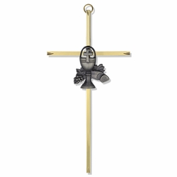 "7"" Brass Engraved Cross with Fine Pewter Chalice Casting"