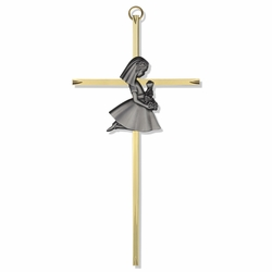 "7"" Brass Engraved Cross with Fine Pewter Communion Girl Casting"