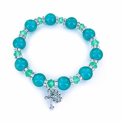 7 Inch Round Aqua Glass Bead Stretch Bracelet with Crucifix and Miraculous Charms