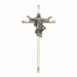 7 Inch Brass and Antiqued Pewter Risen Christ Wall Cross