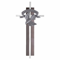 7 Inch Dark Wood and Silver Plated Confirmed in Christ Wall Cross