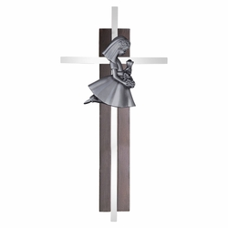 7 Inch Dark Wood and Silver Plated First Communion Kneeling Girl Wall Cross