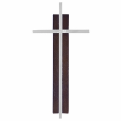 7 Inch Dark Wood and Silver Plated Wall Cross
