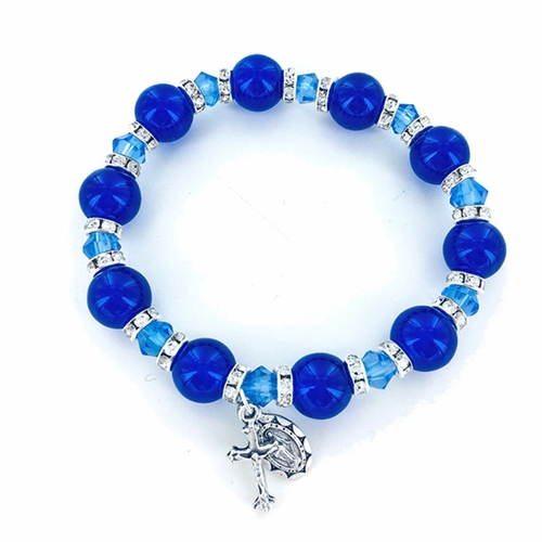 7 Inch Round Blue Glass Bead Stretch Bracelet with Crucifix and Miraculous Charms