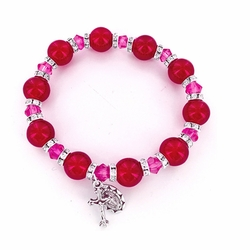 7 Inch Round Red Glass Bead Stretch Bracelet with Crucifix and Miraculous Charms