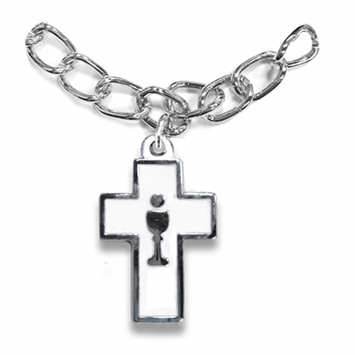 7 Inch Silver Plated Cross with Chalice Charm Bracelet