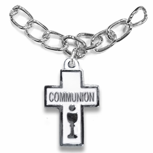 7 Inch Silver Plated Round Cross with Communion Chalice Charm Bracelet
