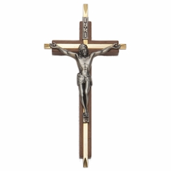 7 Inch Walnut and Brass Wall Crucifix with Antiqued Pewter Corpus