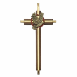 "7"" Wood/Brass Cross With Confirmation Dove"