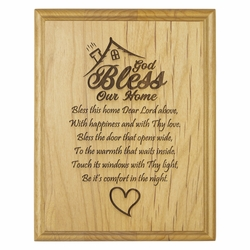 """7 x 9 Inch Engraved """"House Blessing"""" Genuine Alder Wood Wall or Table Decor Art"""