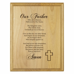 """7 x 9 Inch Engraved """"Protestant Lord's Prayer"""" Genuine Alder Wood Wall or Table Decor Art"""