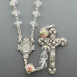7mm Aqua Glass Cut Crystal Flower Beads Rosary with Crucifix and Miraculous Center