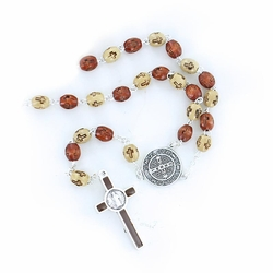 7mm Brown Wood Cross Beads Rosary with Crucifix and St. Benedict Center