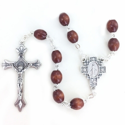7mm Brown Wood Oval Beads Rosary with Miraculous Center and Crucifix