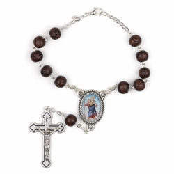 7mm Dark Wood Beads Auto Rosary with Crucifix and St. Christopher Center
