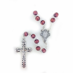 7mm Round Brown Wood Beads Rosary with Crucifix and Center