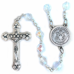 7mm Round Crystal Glass Beads Rosary with Crucifix and U.S. Army Center
