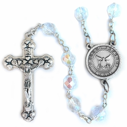 7mm Round Crystal Glass Beads Rosary with Crucifix and U.S. Navy Center