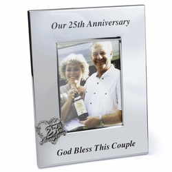 8-1/4 Inch Silver Plated 25th Wedding Anniversary Photo Frame