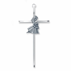8-1/4 Inch Silver Plated Metal Wall Cross with Centered Kneeling First Communion Girl